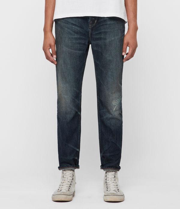 Ridge Damaged Tapered Jeans, Indigo