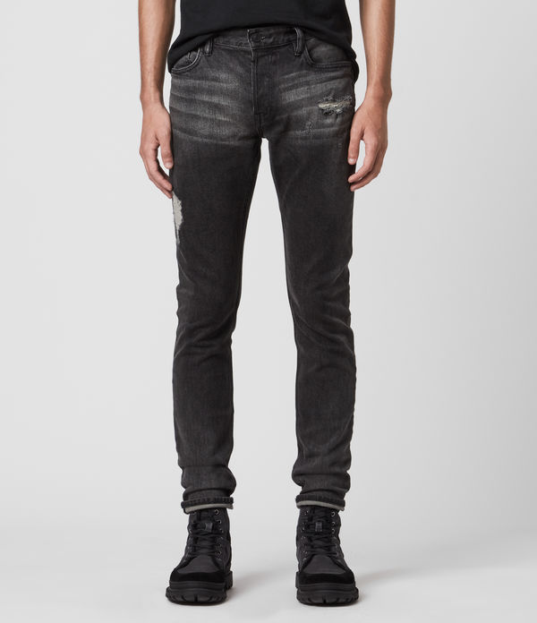 Rex Damaged Slim Jeans, Washed Black