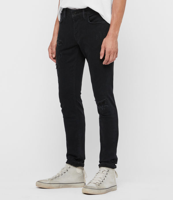 Rex Damaged Slim Jeans, Black