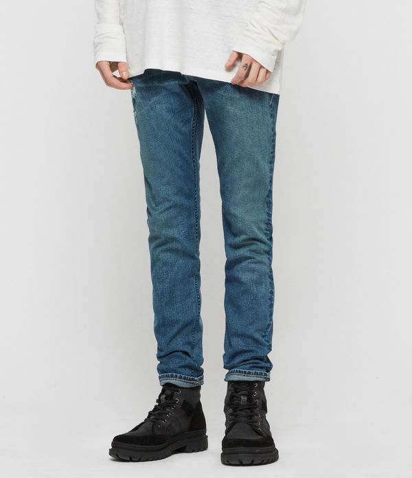 Rex Damaged Slim Jeans, Indigo Blue