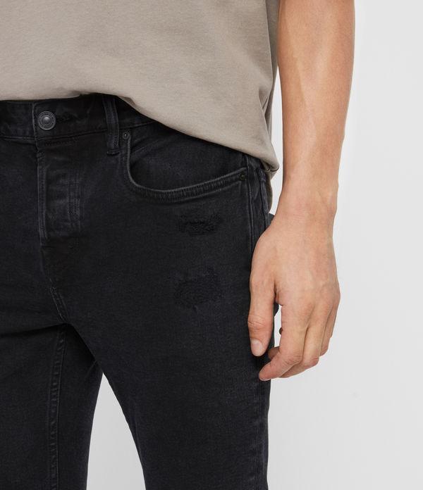 Cigarette Damaged Skinny Jeans, Black