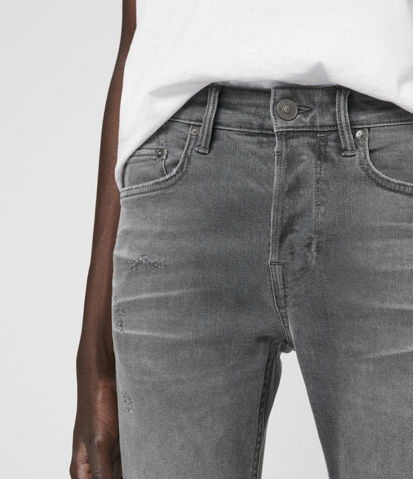Cigarette Damaged Skinny Jeans, Grey