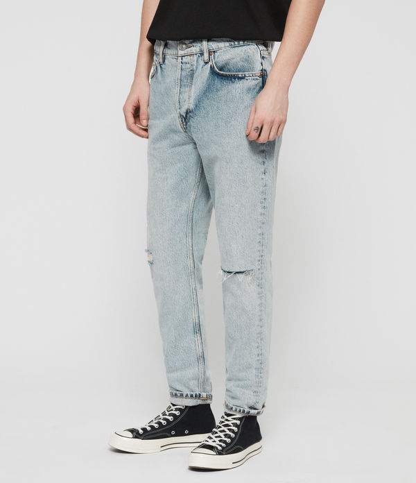 Ridge Tapered Damaged Jeans, Light Indigo Blue