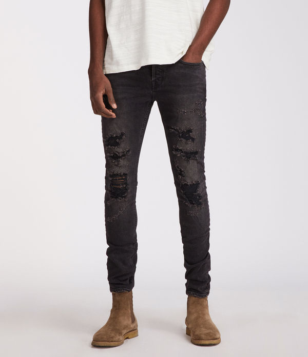 Battle Cigarette Damaged Skinny Jeans, Jet Black