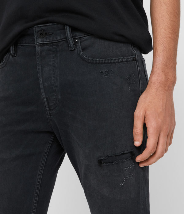 Cigarette Damaged Skinny Jeans, Washed Black