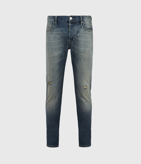 Rex Damaged Slim Jeans, Grunge Indigo