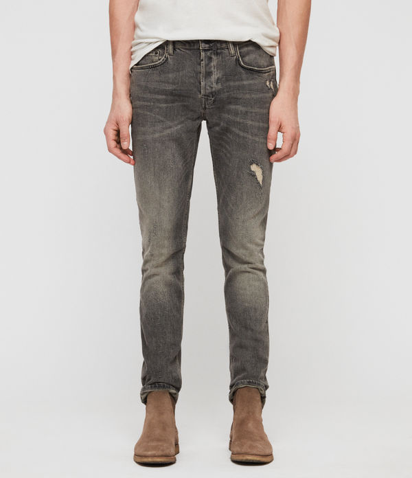 Cigarette Damaged Skinny Jeans, Dark Grey