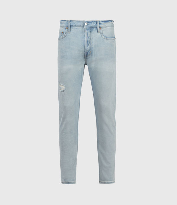 Dean Damaged Slim Jeans, Light Indigo
