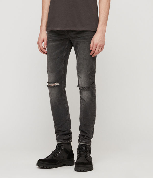 Jeans Cigarette Skinny Damaged, Negro