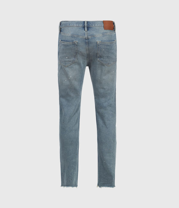 Dean Damaged Slim Jeans, Mid Indigo