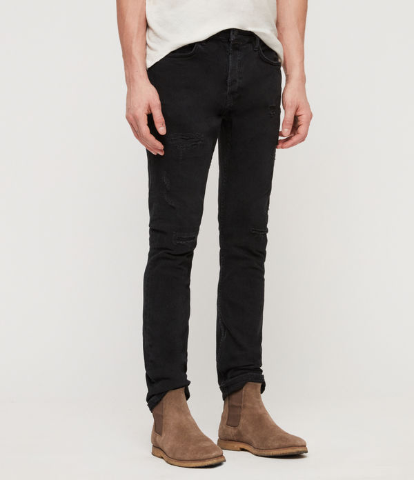Cigarette Damaged Skinny Jeans, Jet Black