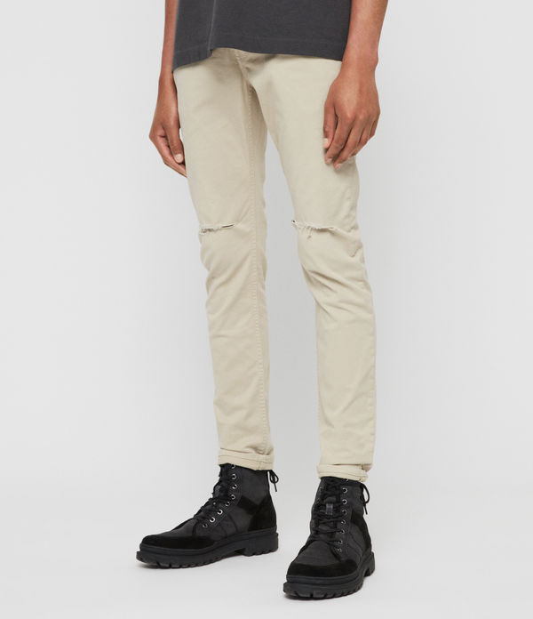 Rex Twill Damaged Slim Jeans, Barley Taupe
