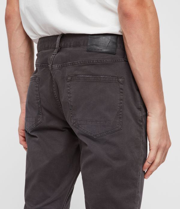 Rex Twill Damaged Slim Jeans, Pewter