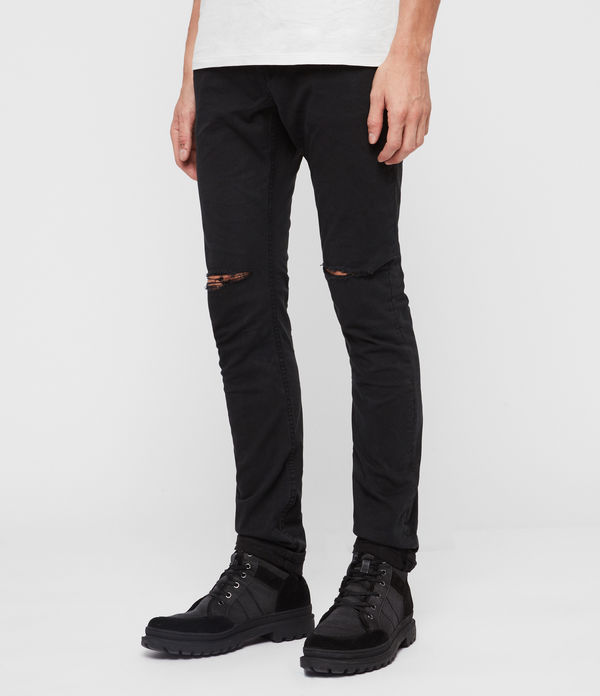 Rex Twill Damaged Slim Jeans, Washed Black