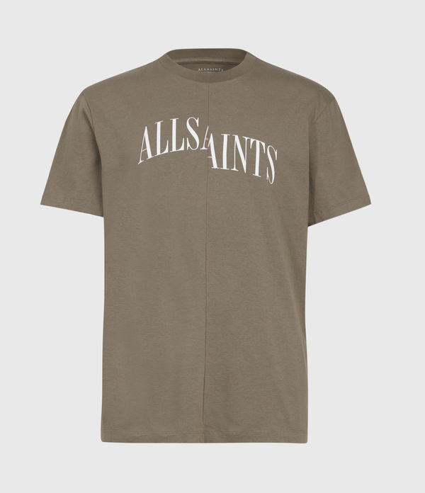 Allsaints Dropout Graphic T-shirt In Washed Khaki Brown