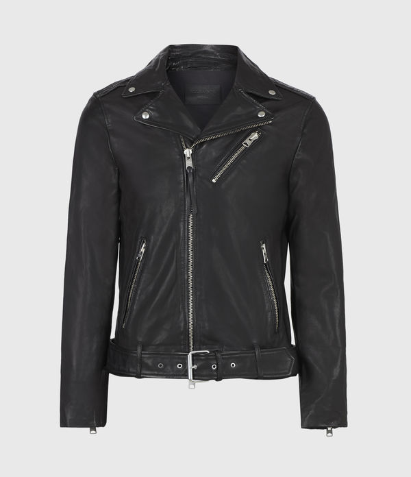 AllSaints Men's Leather Rigg Biker Jacket, Black, Size: M