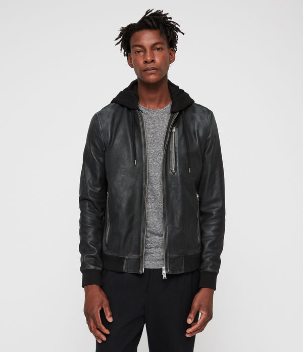 abbot leather bomber jacket