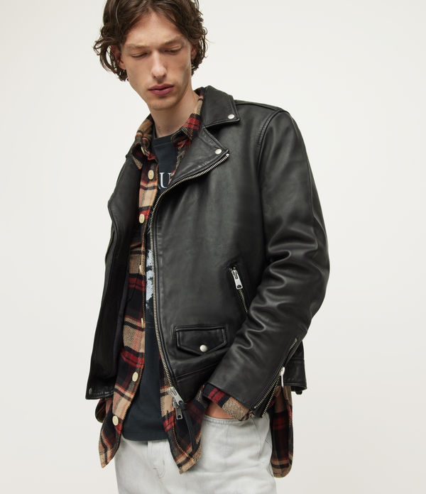 AllSaints Men's Leather Slim Fit Milo Biker Jacket, Black, Size: M