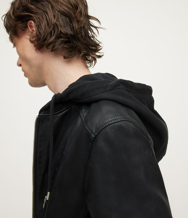 AllSaints Men's Sheep Leather Slim Fit Harwood Biker Jacket, Black, Size: M
