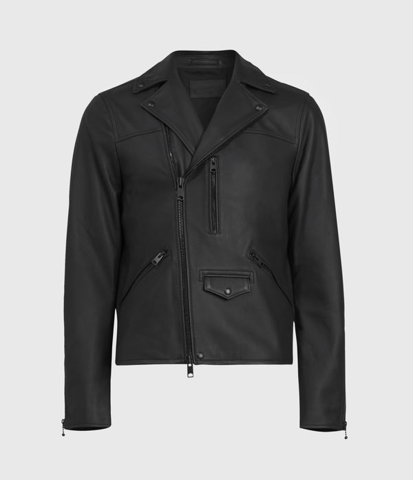 AllSaints Men's Leather Regular Fit Roso Biker Jacket, Black, Size: L