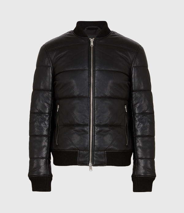 Bowen Leather Puffer Bomber Jacket