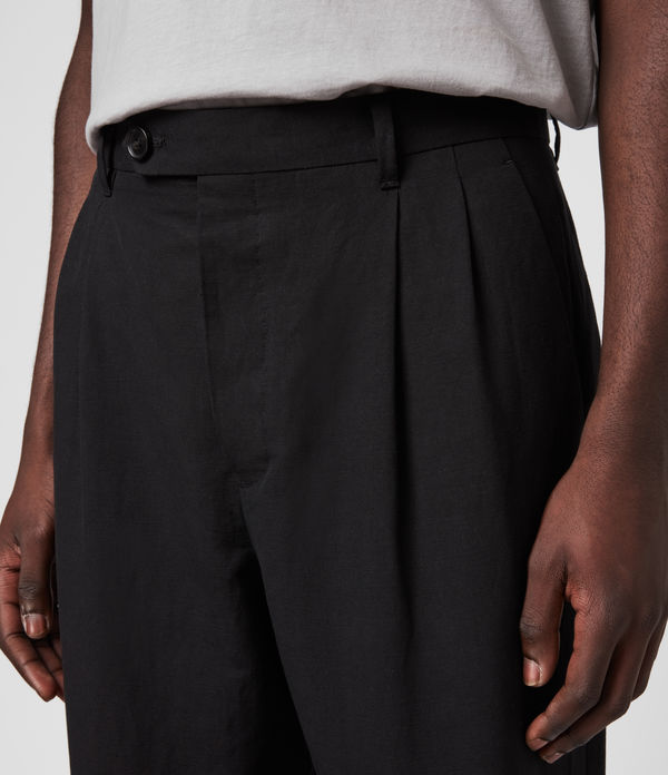 Chiswell Linen Blend Cropped Slim Trousers