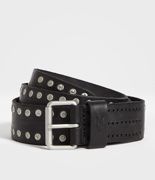 dice stud leather belt