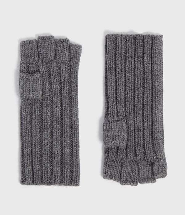 Ribbed Cut Off Finger Wool Blend Gloves