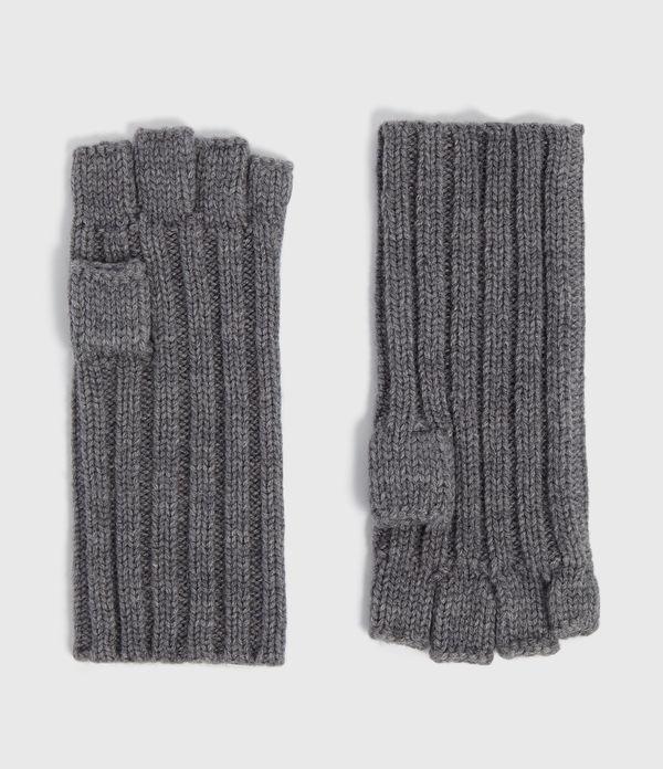 Ribbed Cut Off Finger Wool Blend Gloves