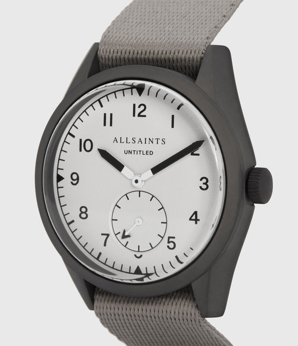 Untitled II Gunmetal Stainless Steel and Grey Nylon Watch