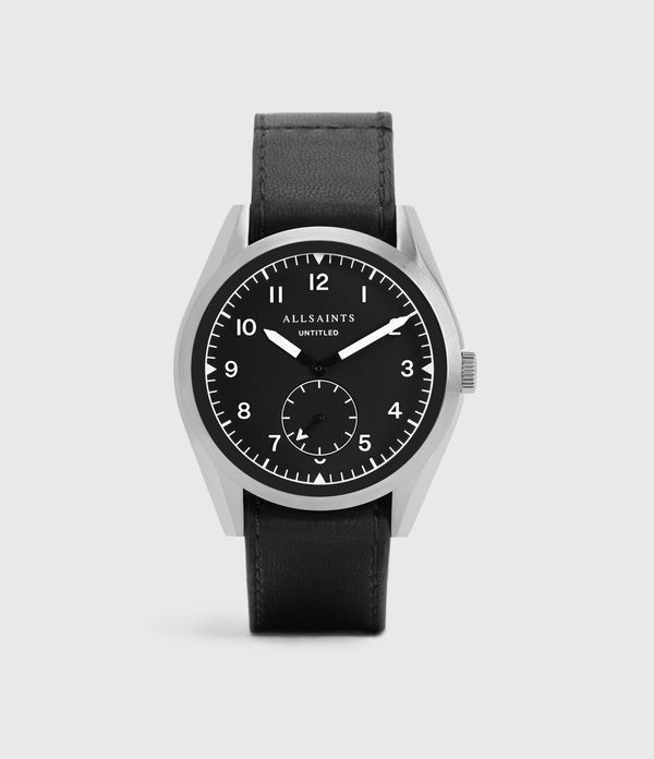 untitled iii stainless steel and black leather watch