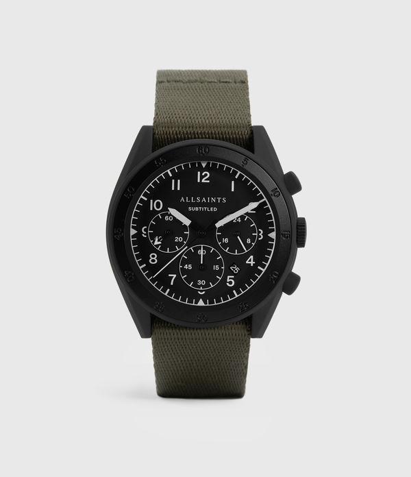 Subtitled I Matte Black Stainless Steel and Military Green Nylon Watch