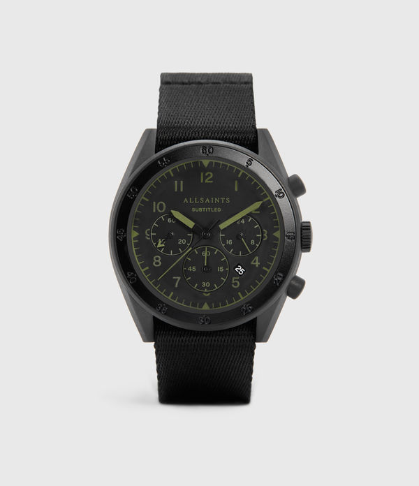 subtitled ii black stainless steel and black nylon watch