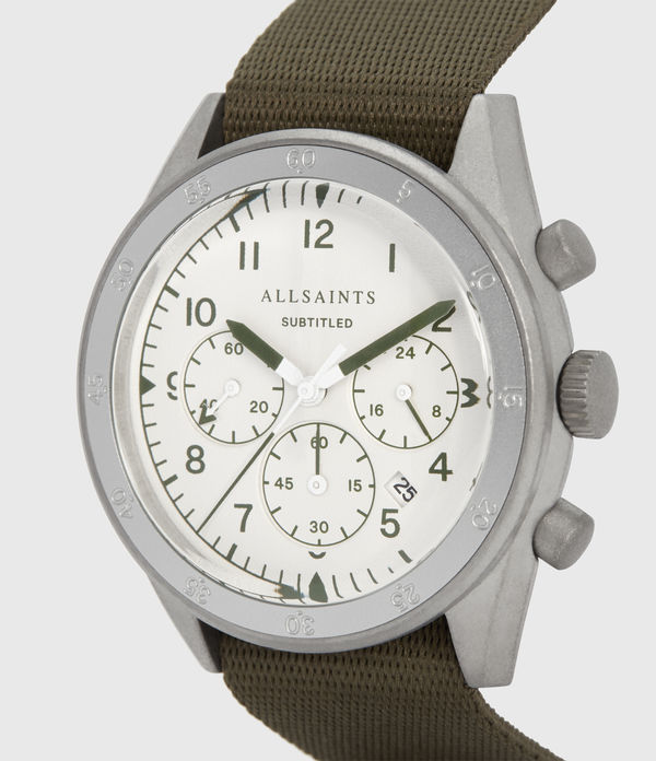 Subtitled III Stainless Steel and Military Green Watch