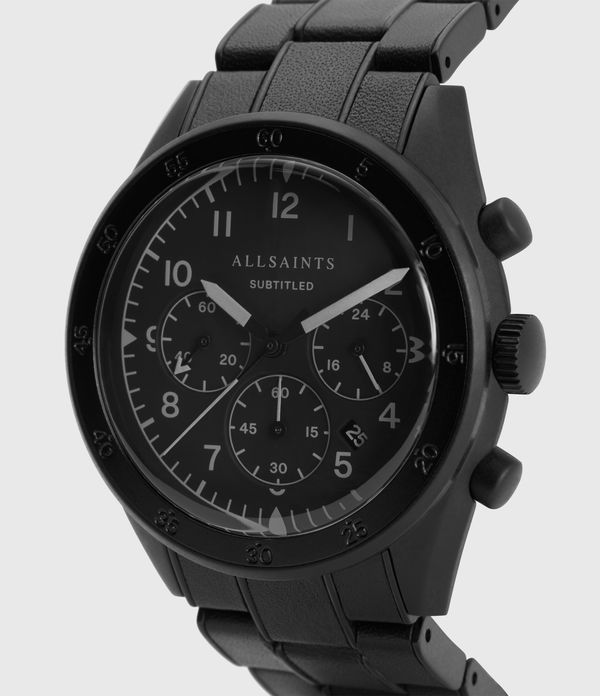 Subtitled VII Black Stainless Steel Leather-Wrapped Watch