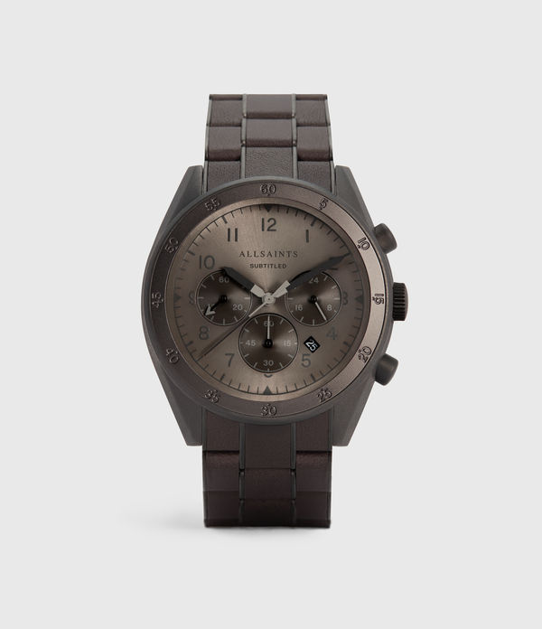 Subtitled VIII Gunmetal Stainless Steel Leather-Wrapped Watch