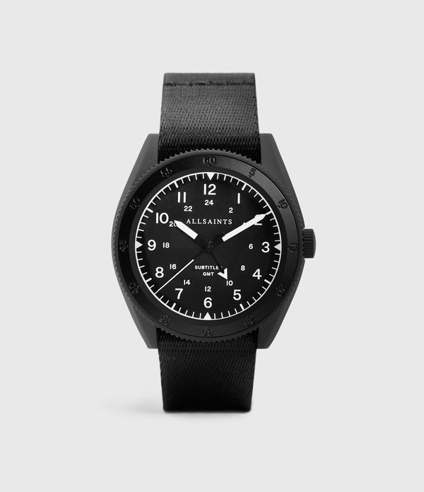subtitled gmt i matte black stainless steel and black nylon watch