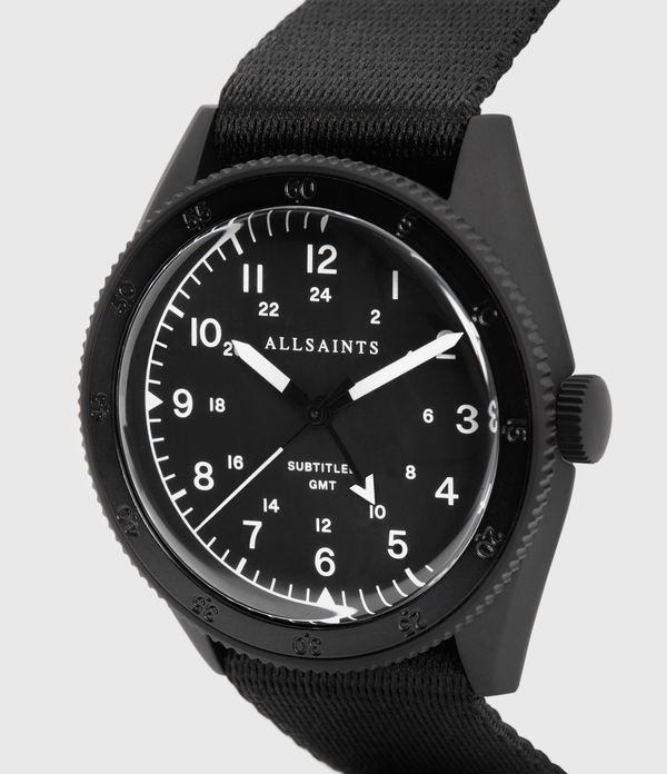 Subtitled GMT I Matte Black Stainless Steel and Nylon Watch