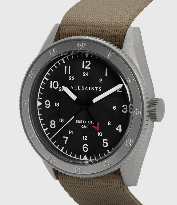 Subtitled GMT II Stainless Steel and Grey Nylon Watch