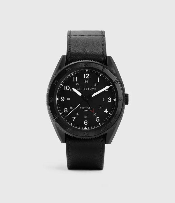 subtitled gmt iii black stainless steel and black leather watch