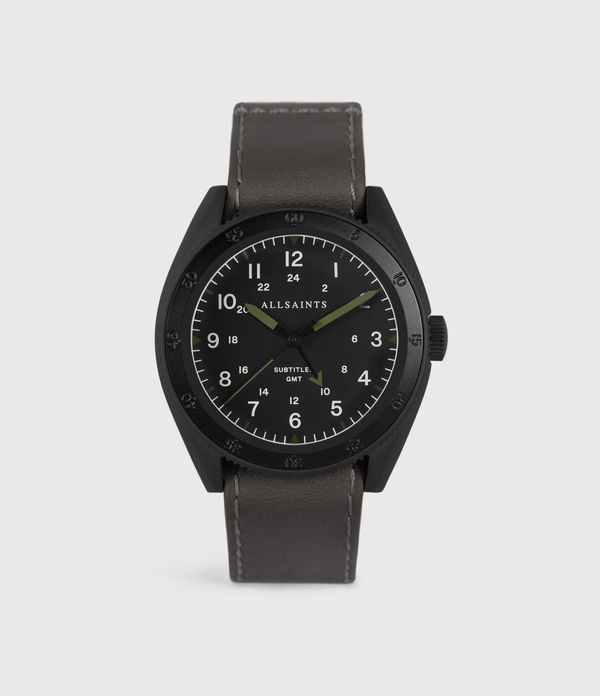 subtitled gmt iv matte black stainless steel and slate leather watch