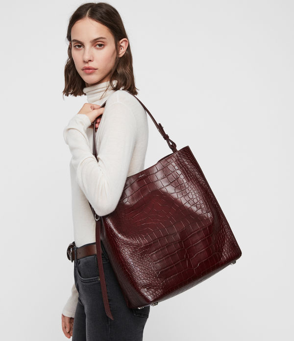 Polly North South Leather Tote Bag