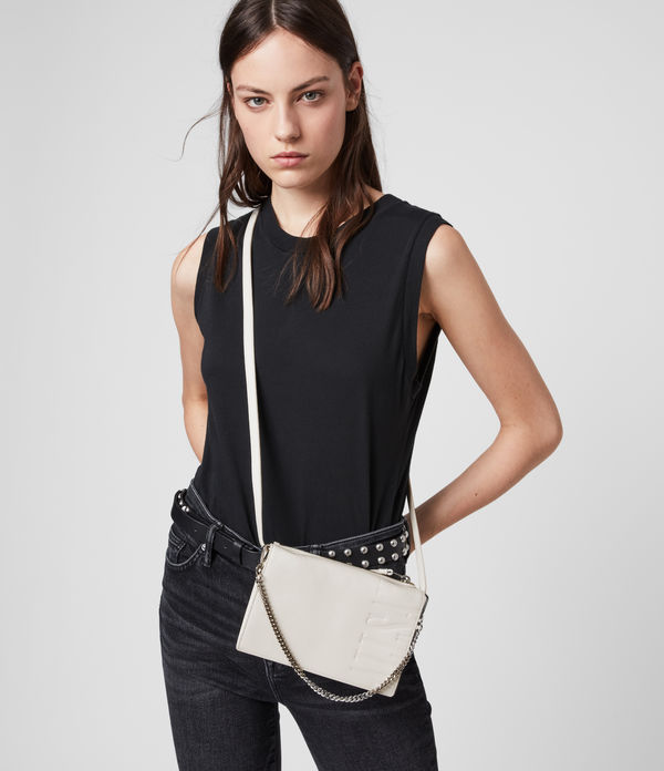 Roman Chain Leather Wallet Crossbody Bag