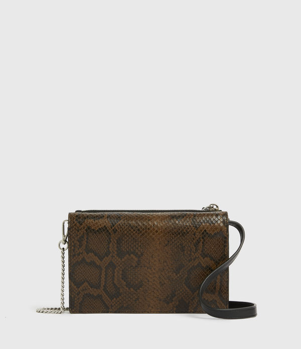 Claremount Leather Chain Snake Crossbody Bag