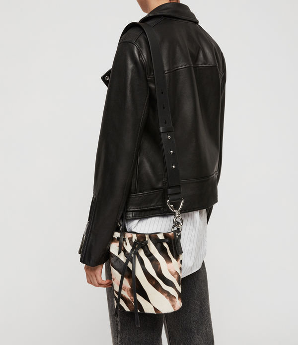 Captain Leather Zebra Small Bucket Bag