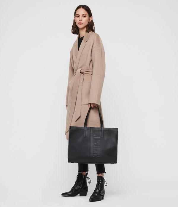 Nina East West Leather Tote Bag