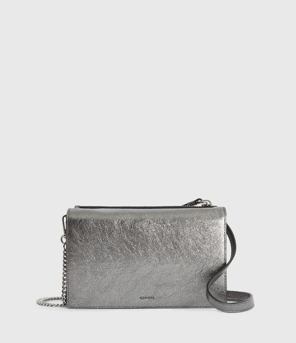 Miki Lea Chain Leather Wallet Crossbody Bag