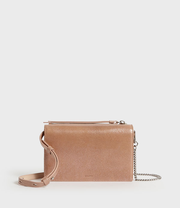 Glitz Chain Wallet Leather Crossbody Bag
