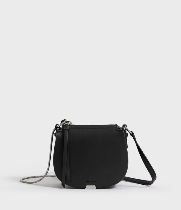 captain leather mini round crossbody bag