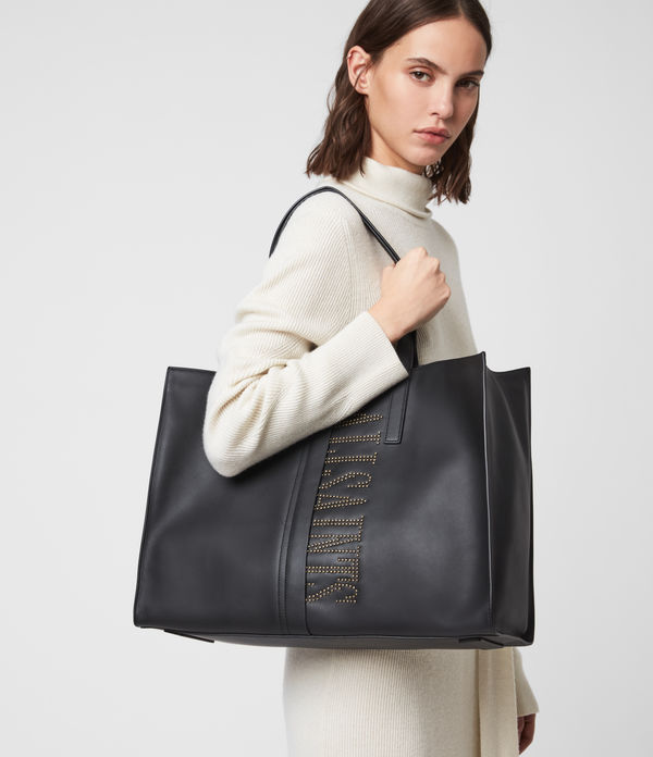 Nina Stud East West Leather Tote Bag